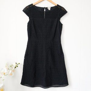 J. Crew Black Eyelet Lace Dress with Cap Sleeves